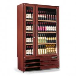 Vitrina de vinuri Tecfrigo Enoprestige 600 5TV, capacitate 600 l, 2 zone temperatura +5+16/+16+18°C, lemn nuc